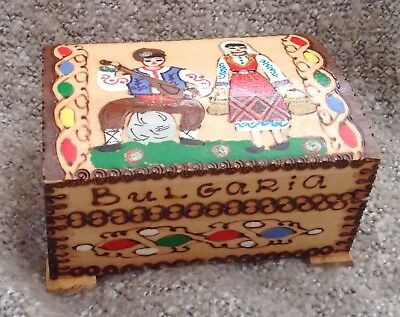 """Bulgaria Colorfully Etched and Painted Souvenir Wooden Box - 4x3x2.5"""""""