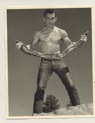 "Male physique photo, Don Whitman, 4x5"",1940s-1960s  #20, bare-chested"