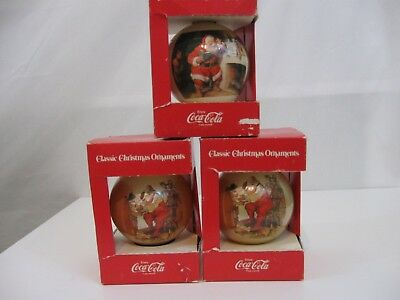 Coca Cola Classic Christmas Ornaments by Corning Glass Works 1980's Vintage