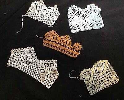 5 Pieces Handmade Antique American lace Embellishments White Blue Brown Green