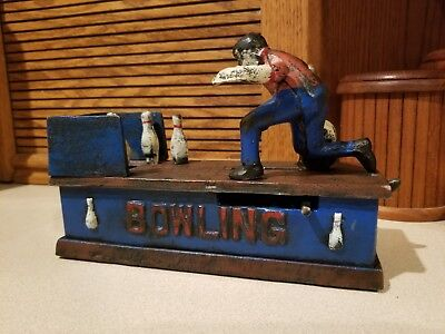 Vintage Original Cast Iron Bowling Man Mechanical Bank, Good Cond, Rare Antique