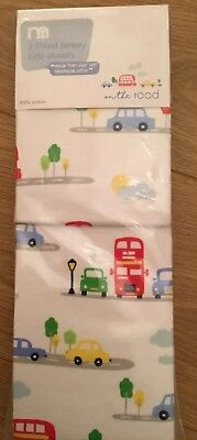 Mothercare On The Road Pack Of 2 Jersey Fitted Crib Sheets...bnip