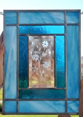 """Beautiful 3 Flowers Etched Bevel Stained Glass Panel or Window 11 3/4"""" x 9 3/4"""""""