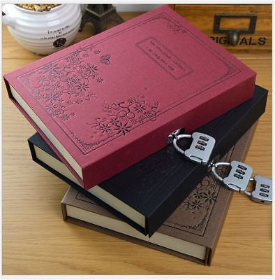144Sheets Vintage Book Journal Diary Sketch-book Notebook with Case and Lock
