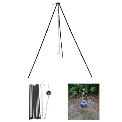 Tripod Stand Grill Lantern Light Hanger Cook Campfire Camping Hiking Picnic