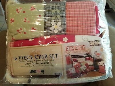 6pc  BABY GIRLS CRIB BEDDING SET BY LAMBS & IVY- *BRAND NEW IN BAG*