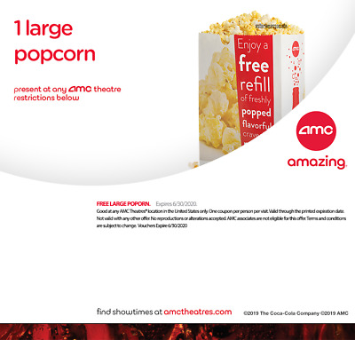 ⚡FAST DELIVERY⚡ AMC Theatres - 1 Large Popcorn - Expires 06/30/2020