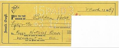 Eliot Ness- Vintage Bank Check from 1947