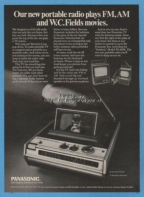 1970 Panasonic Pandora TR-425R Portable TV AM/FM Radio PHOTO Print W.C Fields Ad