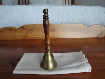 Vintage Brass With Wooden Handle Bell Or Dinner Bell