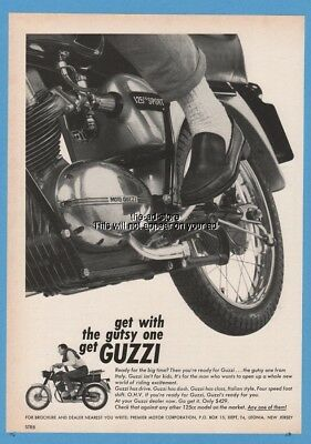 1966 Moto Guzzi 125 CC Motorcycle Sport Italy Leather Loafer Tire Ad