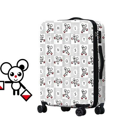 D676 Lock Universal Wheel Cartoon Mouse Travel Suitcase Luggage 28 Inches W