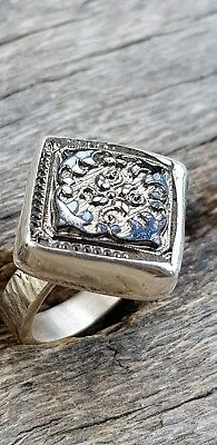 Vintage Czech Glass Button Upcycled Sterling Silver Ring sz6 Jewellery .P47
