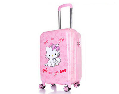 D61 Pink Cartoon Cat Universal Wheel Travel Suitcase Luggage Trolley 19 Inches W