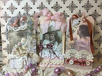 Gift Tags Vintage Inspired Shabby Chic Mixed Media Set Of 3 OOAK