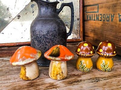 Vintage Mushroom Salt and Pepper Shakers Art Deco Mid Century Modern Vegan