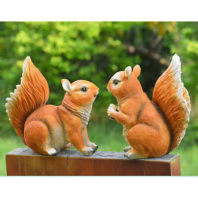 2pcs Squirrel Statues Yard Lawn Garden Patio Ornament Decor Indoor Outdoor