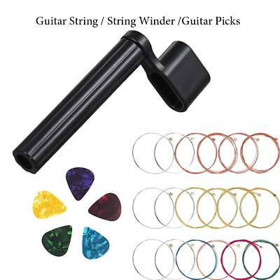 Acoustic Classic Steel Guitar Strings & Winder Replacement Tool + 5 Plectrum Set