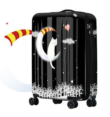 D406 Lock Universal Wheel Black Snow Evening Travel Suitcase Luggage 28 Inches W