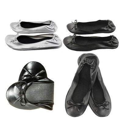 Roll Up Fold Pumps Flats after Party Shoes Pocket Foldable Dancing Shoes XMAS AU