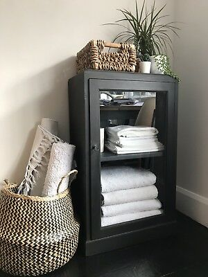 Antique Painted Black Small Display Cabinet Bathroom Linen Cupboard