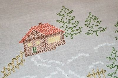 Cozy Christmas Cabin In Winter Snow! Vintage German Hand Embroidered Tablecloth