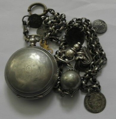 ANTIQUE Japy Freres&Cie SILVER 0.800 TURKISH Ottoman pocket watch+chain