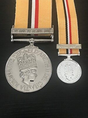 Iraq Medal Full size and miniature (Named copy)