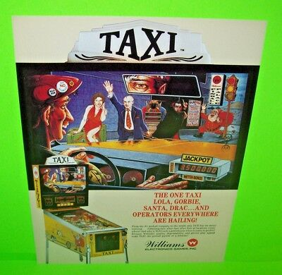 TAXI Pinball Machine FLYER Original 1988 NOS Flipper Game Promo Artwork Williams