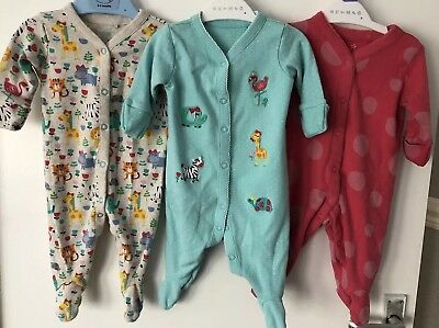 Baby Girls NEXT 0-3 Months Sleepsuits/ Babygrows Bundle VGC
