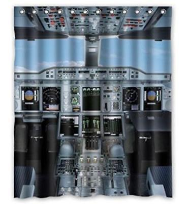 Nice Design Cool Airplane Cockpit Shower Curtain Size 60 X 72 Inch