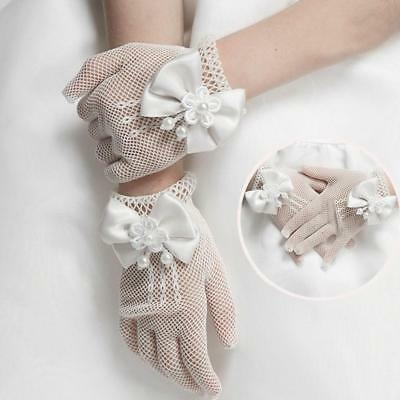 Nice Kids Cream Lace Pearl Fishnet Gloves Communion Party Wedding Flower· Girl