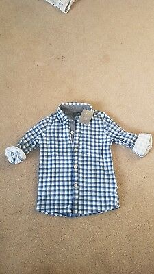 New Baby boy Next Bue Check 3/4 Length Sleeved Shirt 12-18 months
