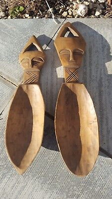 Antique Pair Of Large African Spoons