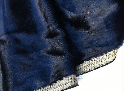 "Antique Silk Velvet Fabric Midnight Blue 17"" Wide French"