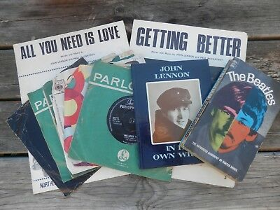 Collection of Original UK Beatles Sheet Music, Singles, Books Etc