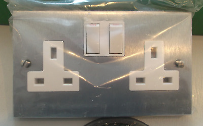 13 Amp Socket 2 Gang Switched & White Double Satin Stainless Steel Double Pole