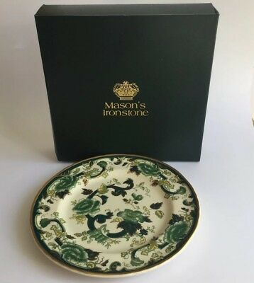 """Boxed MASON'S Ironstone Green  """"CHARTREUSE""""  Gilded Oval 26.5cm Plate"""