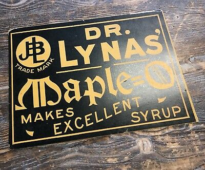 Circa 1930s DR. LYNAS' MAPLE SYRUP ADVERTISING SIGN Store Display 13 1/2 x 9 1/2