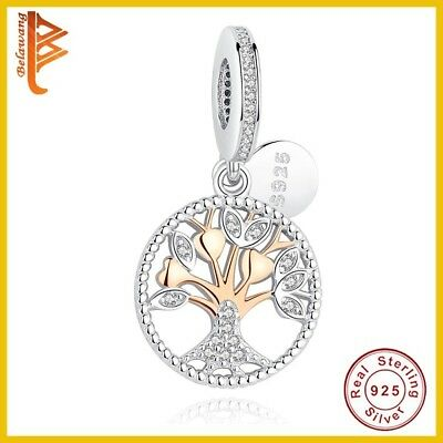 """Authentic Rose Gold Family Tree Silver Dangle """"PANDORA"""" CHARM BEAD 925 STERLING"""