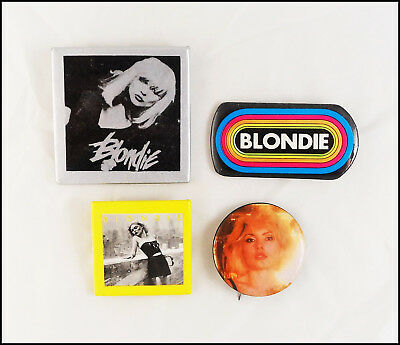 Blondie Lot Of 4 70's 80's Buttons Pins KLOS LA Radio Rainbow Promo