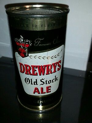Drewrys old stock ale flat top beer can Iowa tax lid