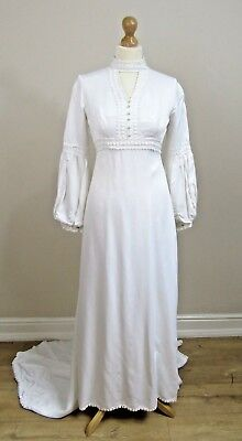 Vintage VTG 70s Wedding Dress White Romantic Long Sleeve Winter Summer Size 6