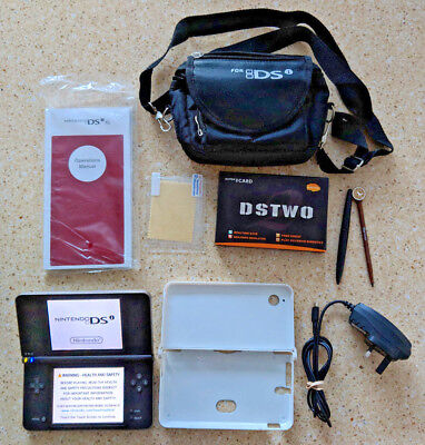 Nintendo DSi XL with protective hard case, DSTwo +more