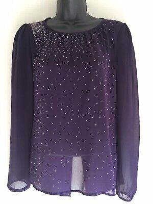 Next Size 6 Open Back Sheer Top Purple Long sleeve Sparkly