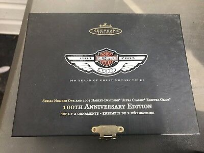 Harley Davidson 100th Anniversary Number One and Ultra Classic Ornaments Diecast