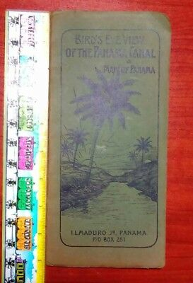 Bird's-eye view of the Panama Canal & Map of Panama - I.L.Maduro Jr c1905