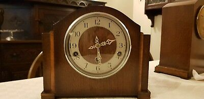 Large Old UK Antique Mantle chime clock, brass workings with key