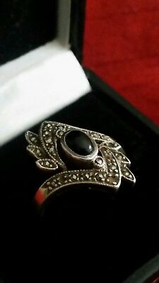 Lovely Art Deco VINTAGE Silver, Marcasite & Onyx Ring /  Size M/N