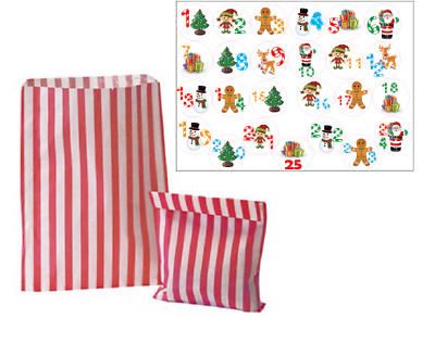 25 Advent Calendar Stickers & 25 Striped Bags for Boys or Girls Christmas